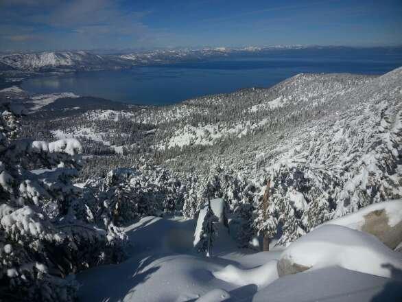 enjoying snow on an awesome mountain.