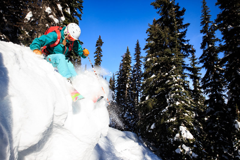 Soft and sunny in Revelstoke's amazing glades. Skier Amie Engerbretson - © Liam Doran