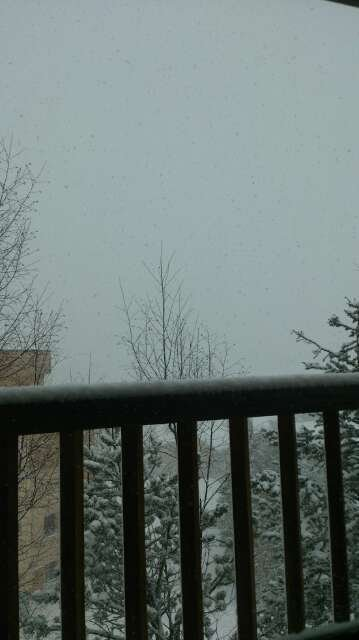 Heavy snow !!! Pic is of bellevarde (from chalet). Zero visibility B-)