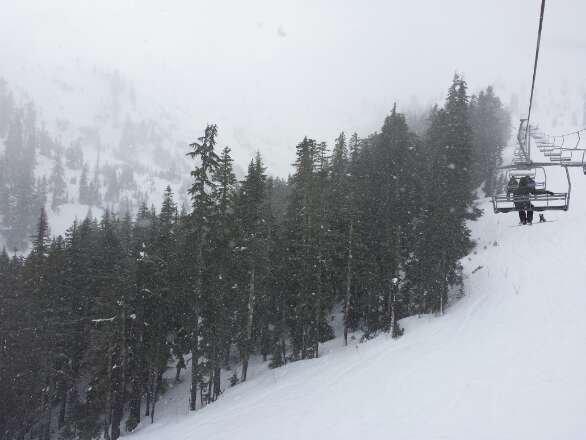 Heavy, wet snow that sticks to the skis. Good coverage but gotta do work to get through the slushy pow.