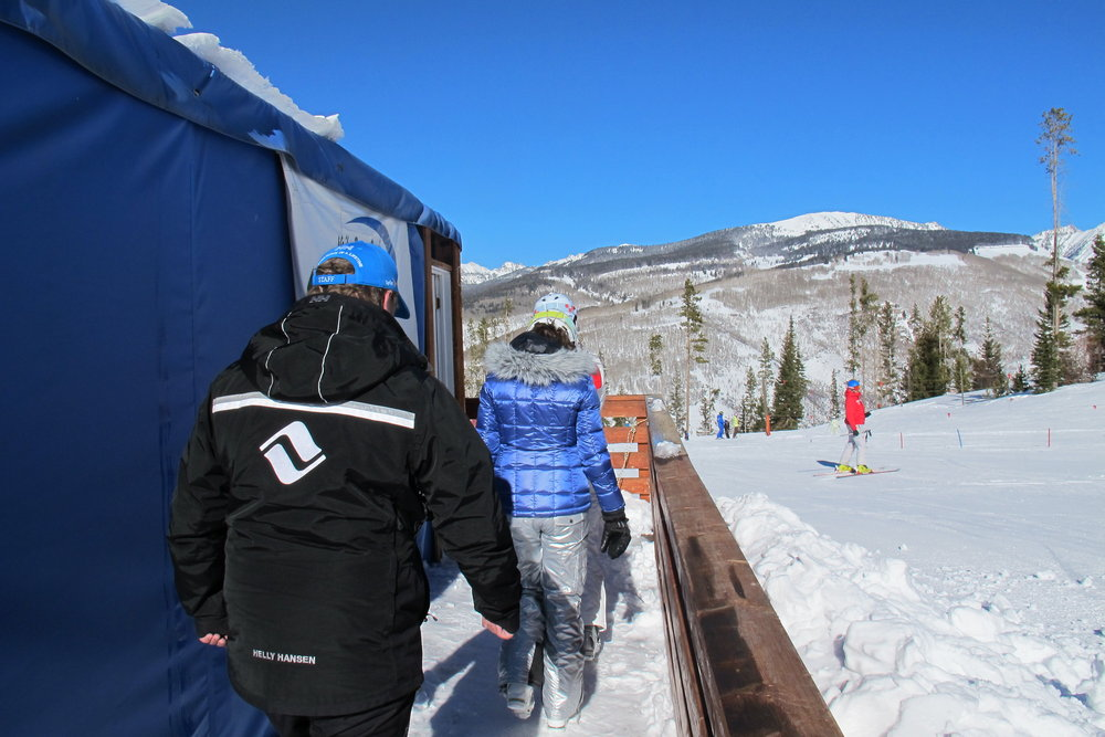 Heading in to watch our ski footage during She Skis, 2014. - © Heather B. Fried