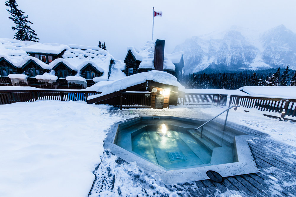 The Deer Lodge hot tub has one of the more stunning settings in Lake Louise. - © Liam Doran