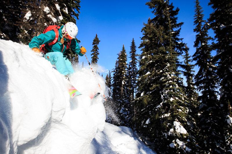 Soft and sunny in Revelstoke's amazing glades. Skier Amie Engerbretson - © Liam Doran