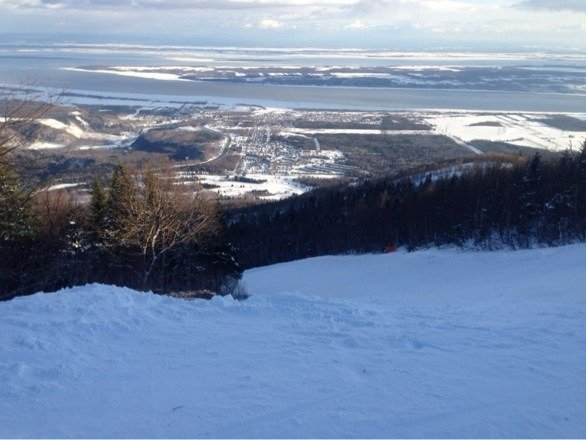 About a foot in the last few days pretty great skiing but getting icy