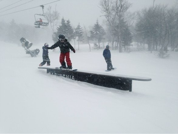 7 year old son hitting rail! The best week in Vermont in ten years!!