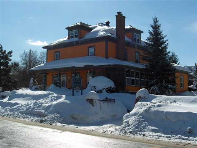 A snow-covered bed & breakfast in Magog-Orford, Quebec, Canada.