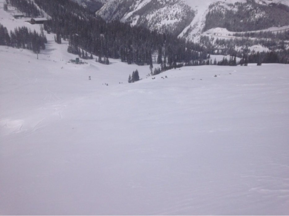 Base of east wall.great skiing everywhere today, more than 4 inches in a lot of places