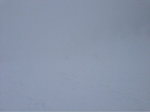 Foggy and no visibility. But soft fresh snow.