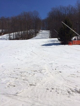 Great spring conditions. Soft corduroy in the morning with mashed potatoes in afternoon. Sun was only thing out on the slopes all day.