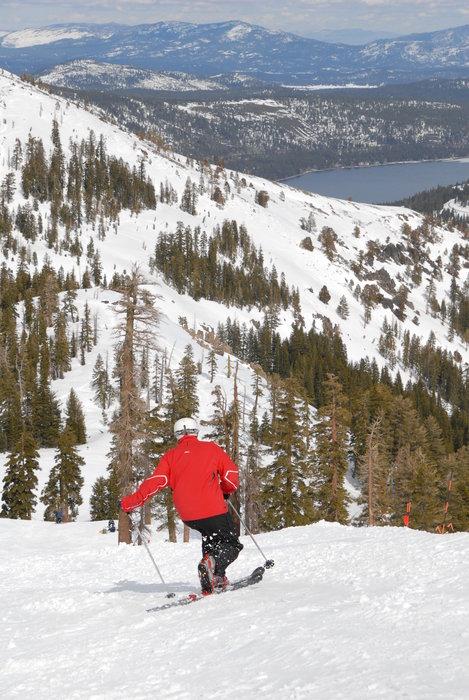 Skier on slopes above Donner Lake