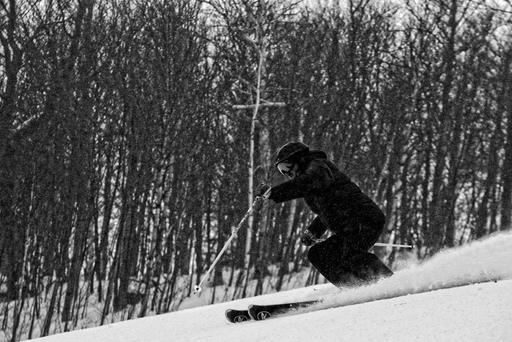 Skier Matt Buswell rips Sugarbush. - © Liam Doran