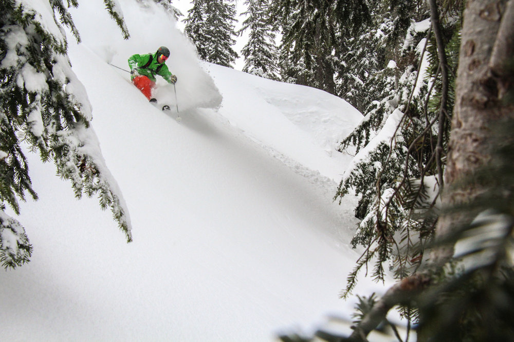 Andy Devore catching a powder day at Summit at Snoqualmie. - © Karter Riach courtesy of Summit at Snoqualmie