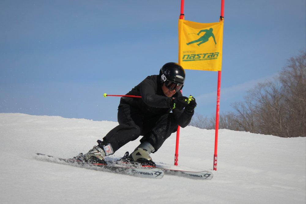Nastar skier on Cheers slope. - © Crystal Mountain