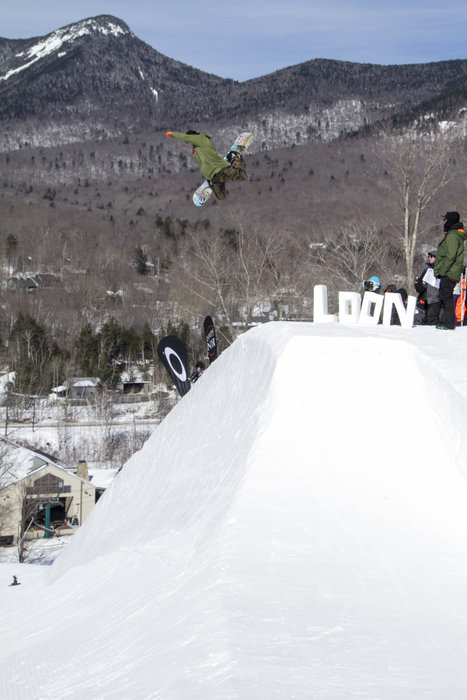 Travis Neuenhaus launches off a massive hip at Loon's annual Last Call event in March. - © Gus Noffke