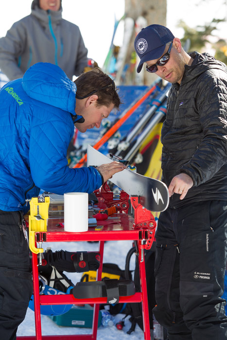 What would we do without our manufacturer friends, tuning test skis on-demand?   - © Cody Downard Photography