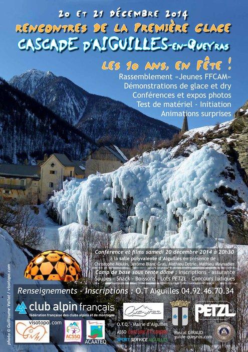 Affiche anniversaire cascade de glace Aiguilles - © OT Queyras