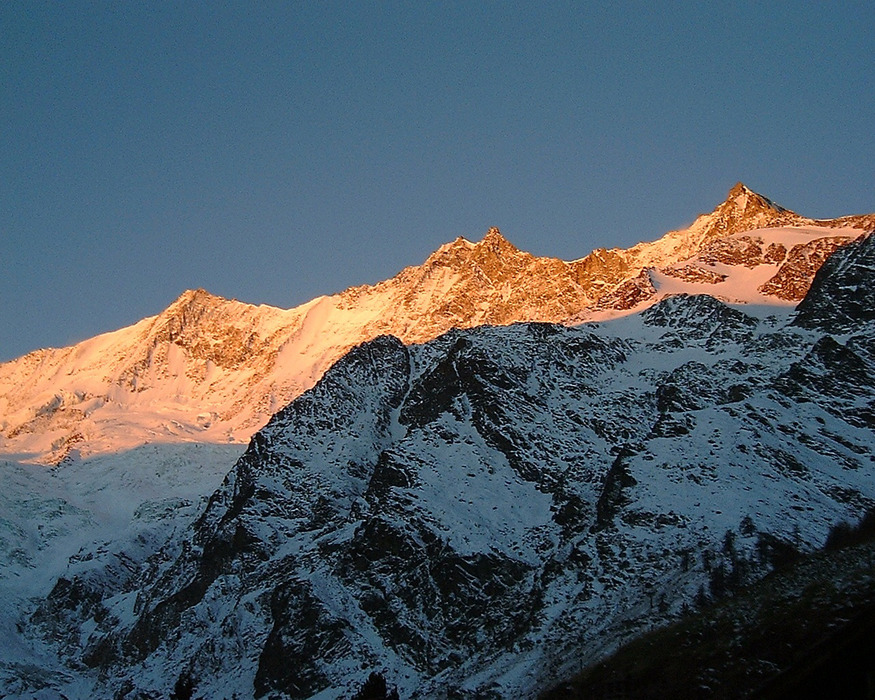The slopes of Saas Fee in low light.
