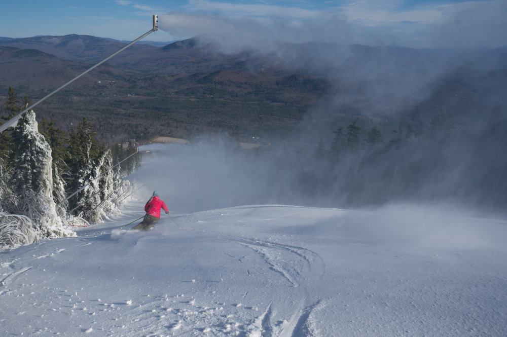 First tracks of the season at Sunday River. - © Sunday River
