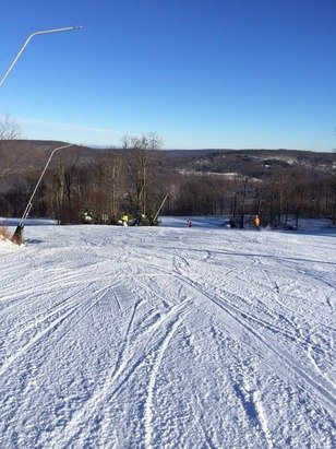 Groomed conditions.  Plenty o'sunshine.  News flash: all lifts running at full capacity.  Anticipating big crowd today.