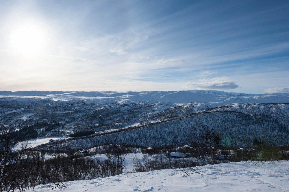 Det er ingenting å utsette på utsikten, eller føret i Skarslia. - © Eirik Aspaas