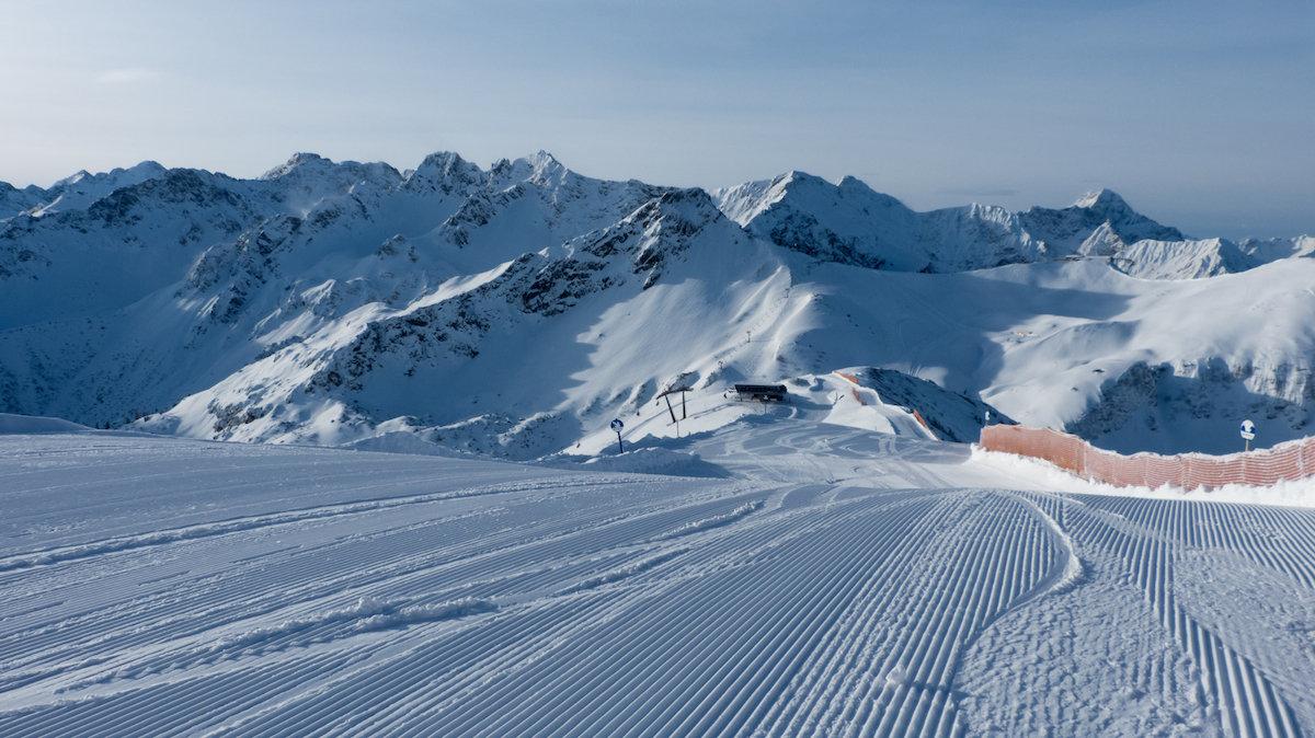 Perfekte Präparierung an der oberen Piste des Fellhorns - © Bergbahnen Oberstdorf/Kleinwalsertal