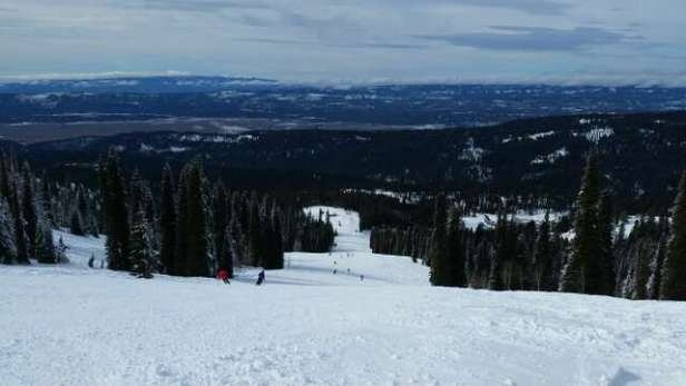 A great day snowboarding. skier tracked powder off groomed runs. ..damn skiers!  groomed runs were perfect and everything softened up as the day progressed.