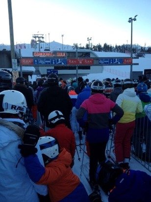Massive queues for ski lifts in Ruka Finland just like Alps