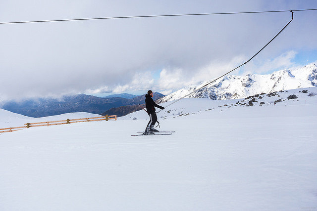 Taking the lift in Val d'Est, Corsica. - © Anne Sarthou
