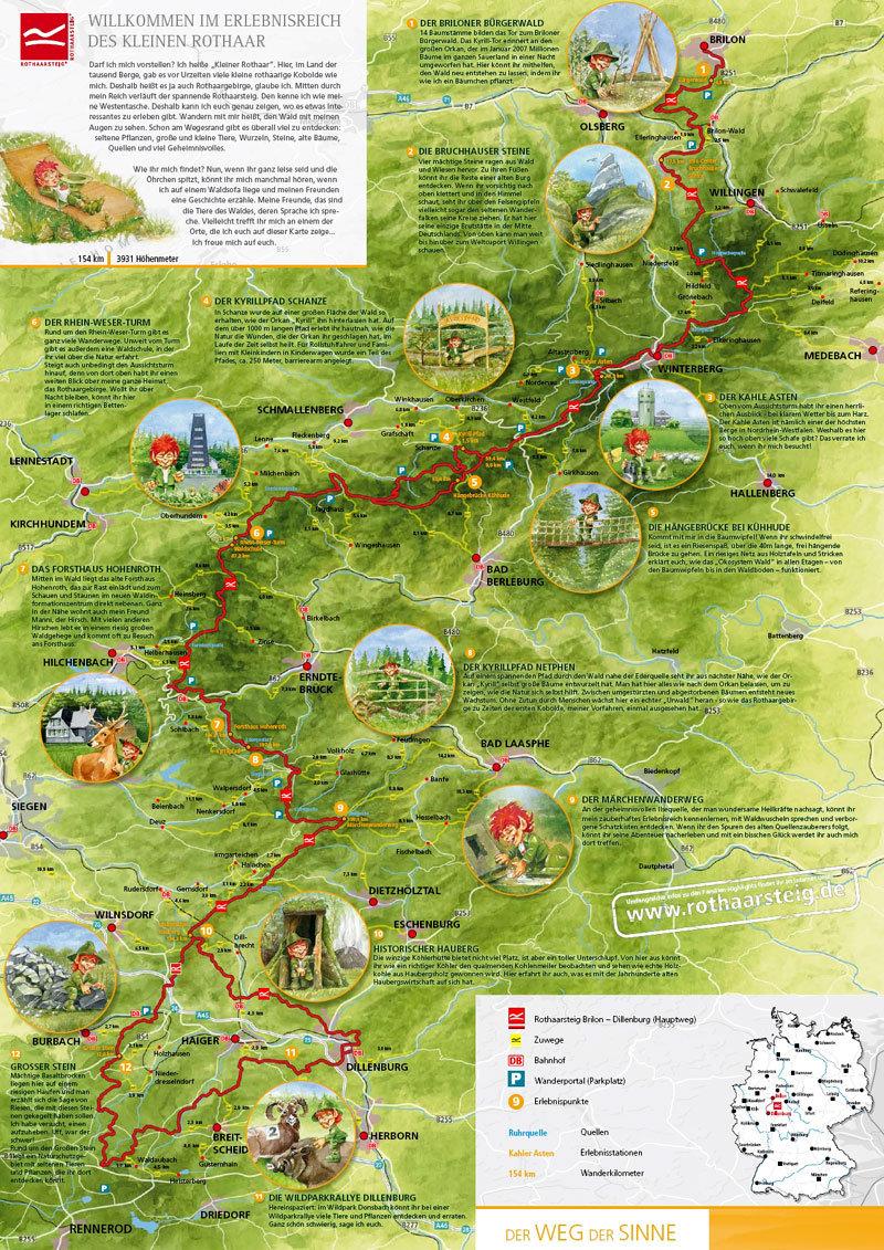 Karte vom Rothaarsteig - © Rothaarsteig - K.-P - Kappest