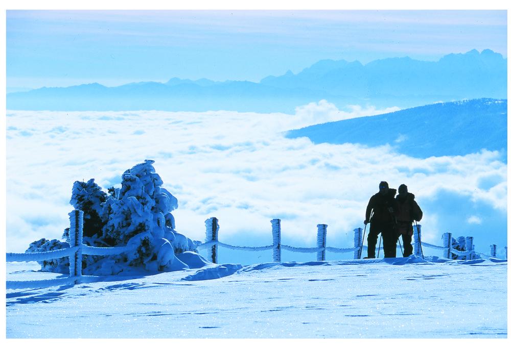 Pair of snowshoers at Bad Kleinkirchheim