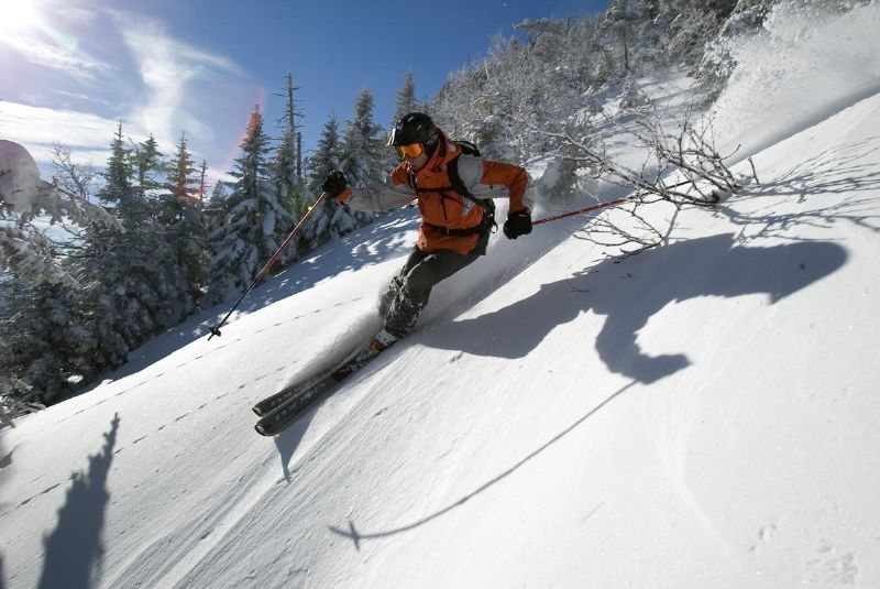 A skier goes down the mountain in Stowe, Vermont