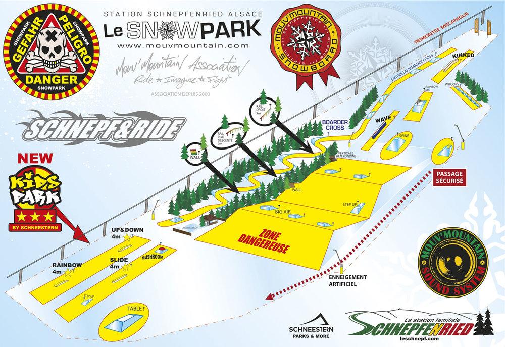Plan du snowpark du Schnepfenried