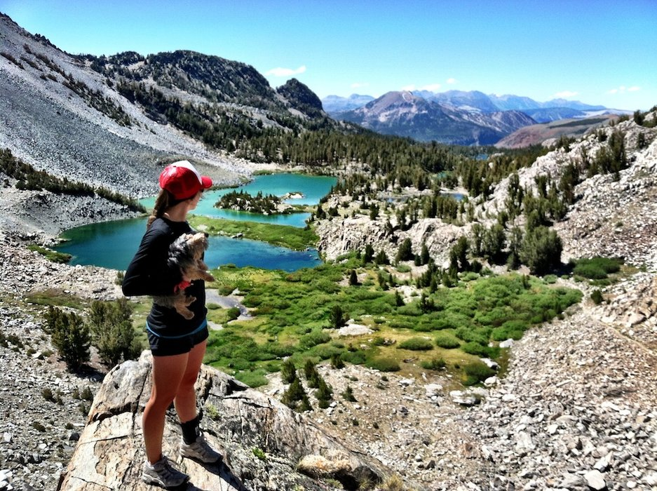 Kimmy Fasani takes a moment to look back at the scenery as she makes her way up Duck Pass. - © Kimmy Fasani