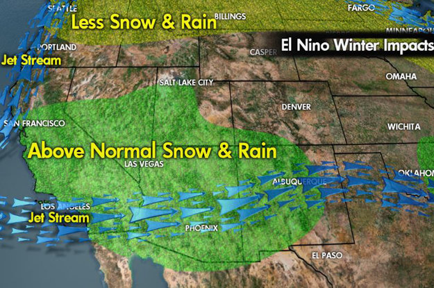 Meteorologist Chris Tomer's west-coast El Niño predictions for the 2015/2016 ski season. - © Meteorologist Chris Tomer