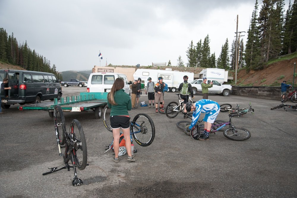 Staging with High Valley Bike Shuttle at Monarch Crest Ride trailhead - © Josh Cooley