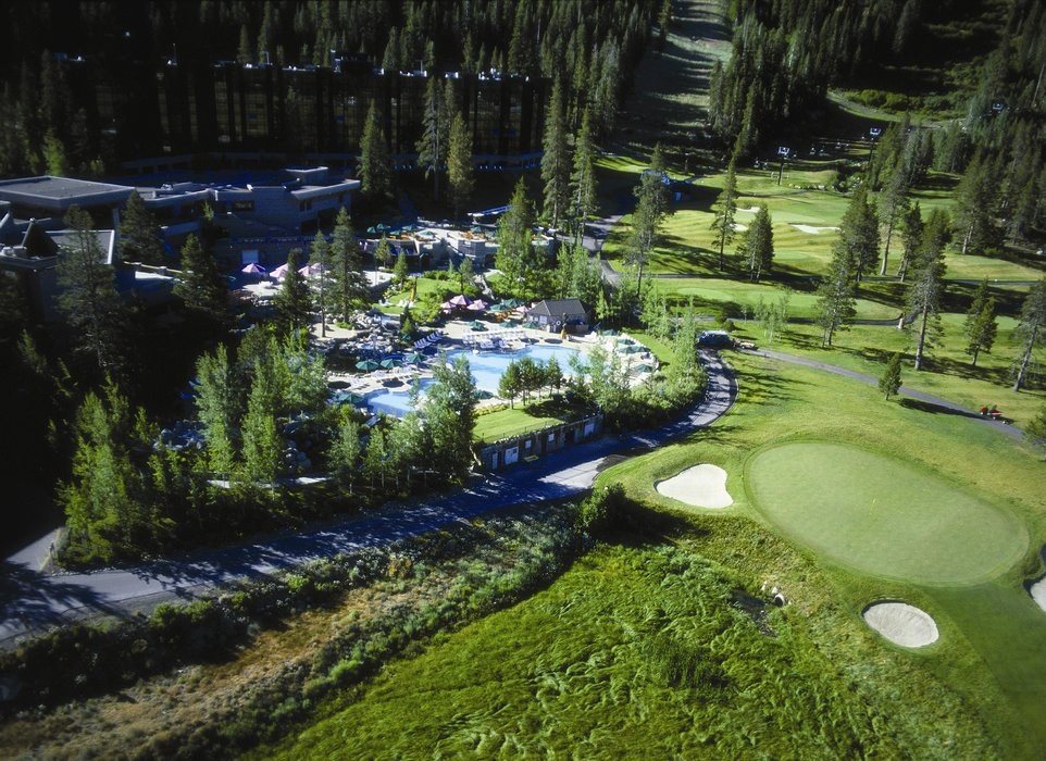The golf course and pool area of The Resort at Squaw Creek.