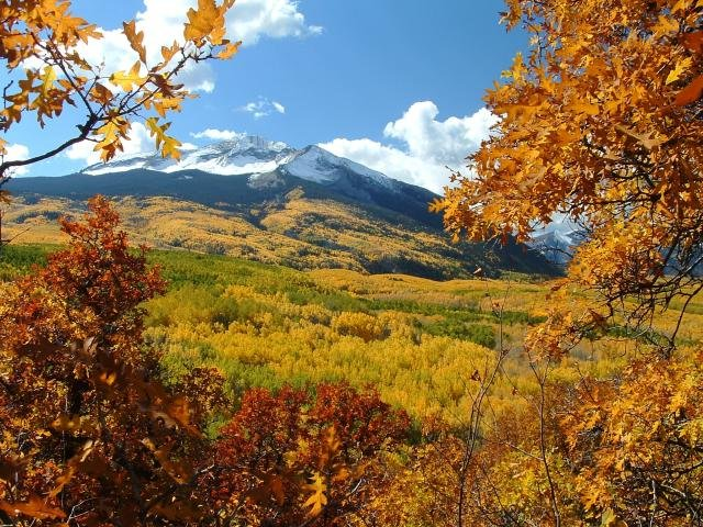 Gunnison, Colorado in fall colors.