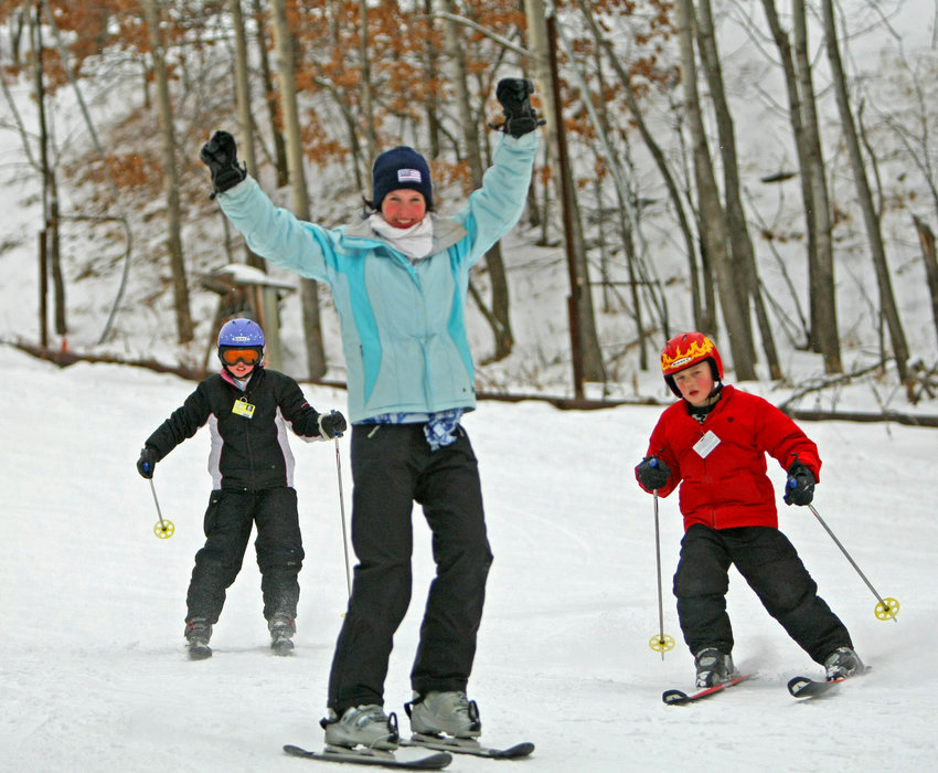A trio of young skiers at Wild Mountain, MN