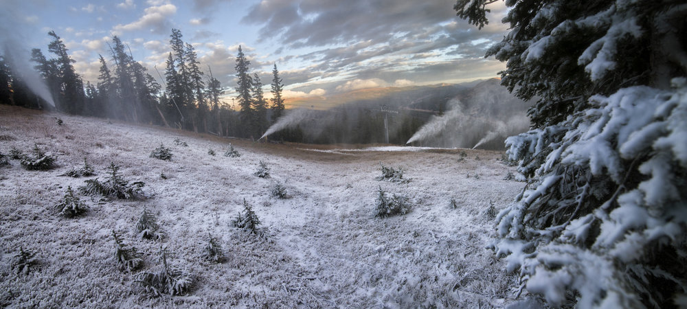 Low temperatures made it possible for snowmaking guns to fire up on the trail Andy's Encore at Copper Mountain. - © Tripp Fay, Copper Mountain Resort