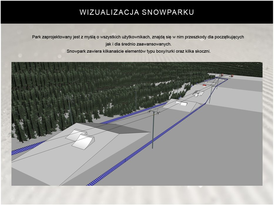 Snowpark na Jaworzynie Krynickiej będzie miał 1000 m długości o około 25 m szerokości. - © SN Jaworzyna Krynicka