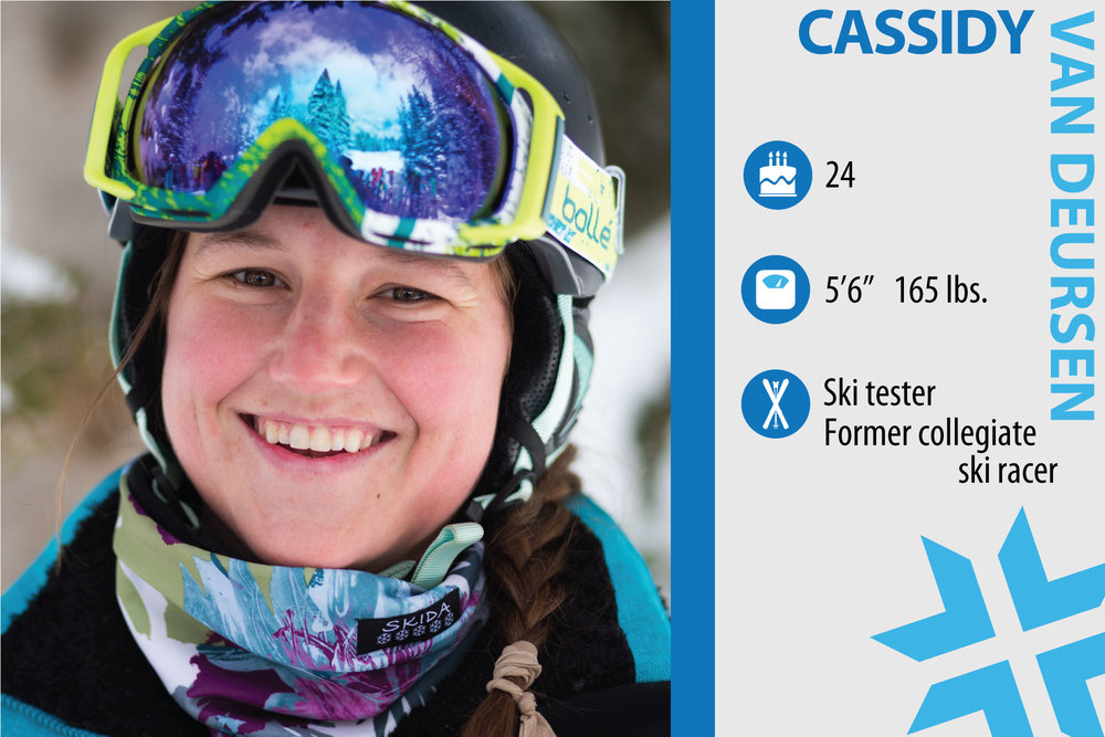"Cassidy Van Deursen. Job in real life: Customer service rep. What are you working on in your own skiing? ""Getting rid of the A-frame I've fought with my whole life and conditioning to ensure a strong and healthy season."" - © Liam Doran"