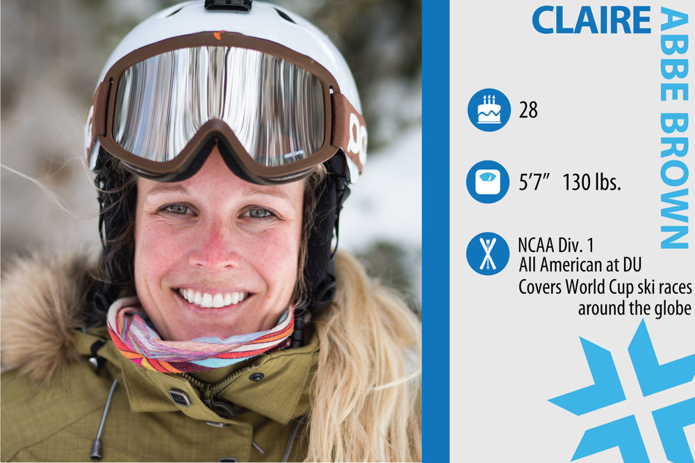 "Claire Abbe Brown. Job in real life: Publisher of Skiracing.com. What are you working on in your skiing? ""Ankle flexion, perfecting my mule kick and trying to bust up the U.S. Ski Team alum podium sweep every week during the Park City Town Series!"" - © Liam Doran"