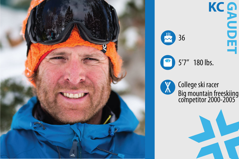 "KC Gaudet. Job in real life: Retail consultant. Skiing Cred: College ski racer, big mountain freeskiing competitor from 2000-2005 If you could design something to enhance your skiing experience, what would it be? ""A gizmo that factors in snowfall, road closures, traffic and crowds and tells you whether it's worth calling in sick."" - © Liam Doran"