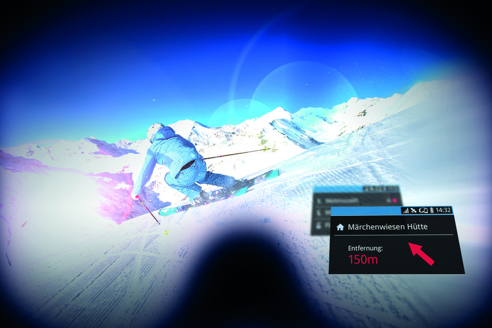 Narciarskie cybergogle dostępne w ośrodkach regionu Ski amade wskażą drogę do poszukiwanych schronisk, wyciągów lub funparków, pokażą aktualną prędkość, status wyciągów i tras. - © Ski amade