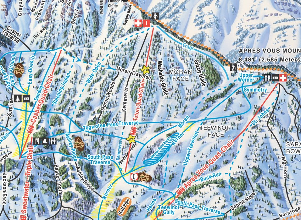 Trail map close up of new Teton Lift at Jackson Hole Mountain Resort. - © Jackson Hole Mountain Resort