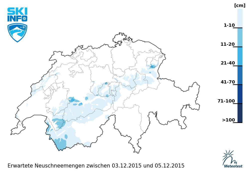Neuschneeprognose Schweiz: 3.12. bis 5.12. - © Skiinfo | Meteotest