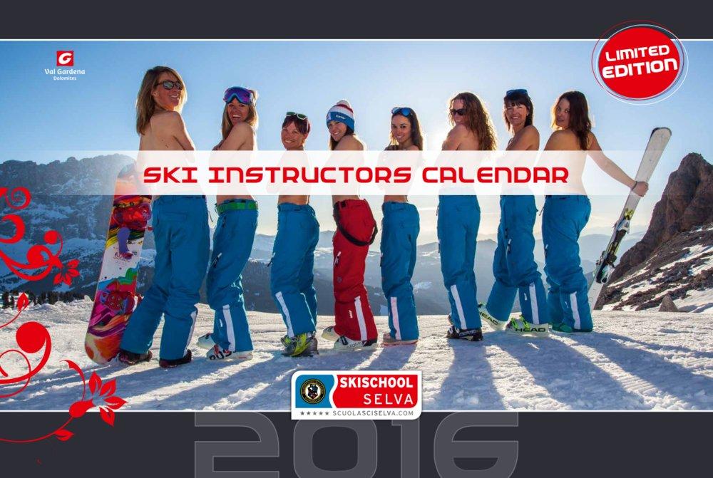 """""""Kalendár lyžiarskych inštruktoriek"""" je možné objednať v lyžiarskej škole Selva (e-mail info@scuolasciselva.com), časť výťažku bude venovaná Talianskej asociácii boja proti leukémii v Bolzane. - © Scuola Sci Selva http://www.scuolasciselva.com - Robert Perathoner ski instructor & photographer - www.foto-prodigit.com"""