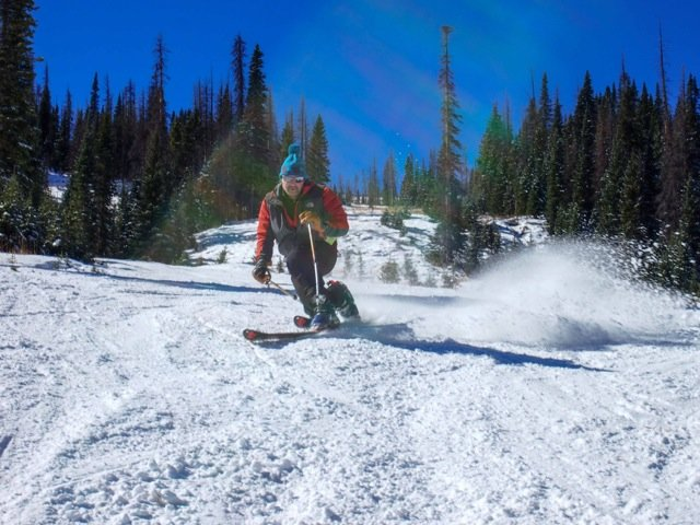Looks like eight inches is plenty of base to work with - © Rosanne H. Pitcher courtesy of the Wolf Creek Ski Area