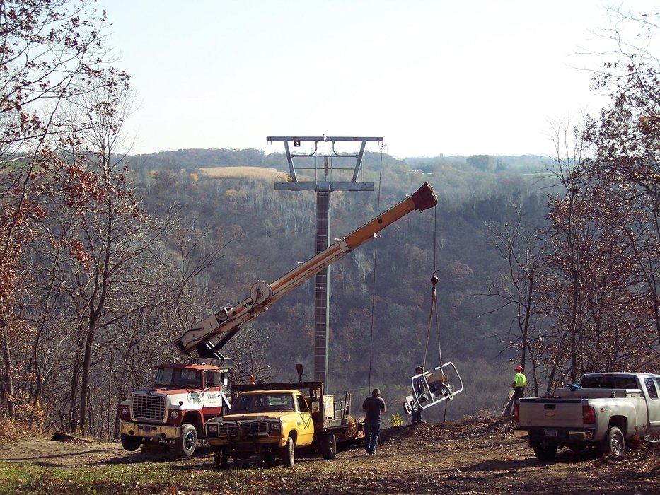 Ski lift under construction at Welch VIllage, MN.