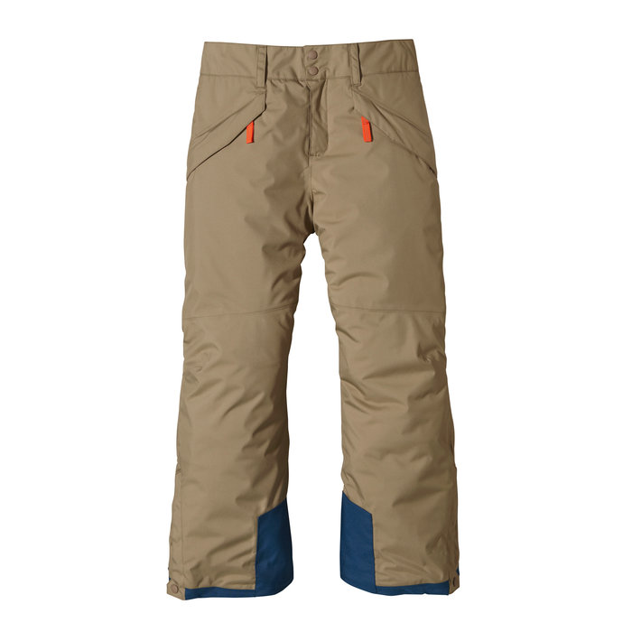 Patagonia Boys Insulated Snowshot Pants: $149 The all-conditions Boys' Insulated Snowshot Pants are neither timid off the tram, nor shy about shredding. H2No® Performance Standard 2-layer polyester shell and a waterproof/breathable barrier provide serious protection. DWR (durable water repellent) finish and fully-taped seams seals out moisture. Bluesign® approved liner fabric plus lightweight 100-g Thermogreen® insulation (90% recycled) that stays warm even when wet. The fixed waistband has an internal waist adjustment for the perfect fit and external belt loops; a loop on the back attaches to the Boy's 3-in-1 and Insulated Snowshot jackets. Articulated knees and grow-fit feature in legs increases length by 2 inches. Durable nylon scuff guards and cuff gusset with snap closure allow for durable boot coverage and low-profile fit; internal, bluesign® approved gaiter with gripper elastic keeps out cold.
